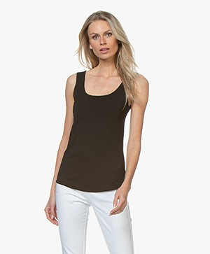 no man's land Viscose Jersey Dubbellaagse U-hals Top - Zwart