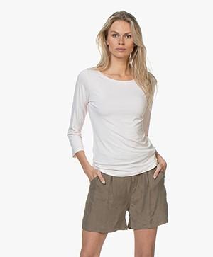 no man's land T-shirt met Driekwart Mouwen - Rosa