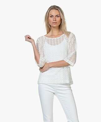 no man's land Lace Cropped Sleeve T-shirt - Ivory