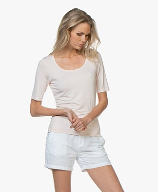 no mans land Viscose T-shirt met Halflange Mouwen - Rosa