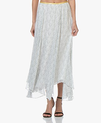 By Malene Birger Crepe Georgette Print Midi Skirt - Soft White