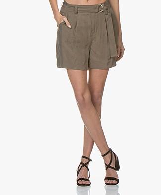 Denham Bend Cupro Blend Twill Shorts - Khaki