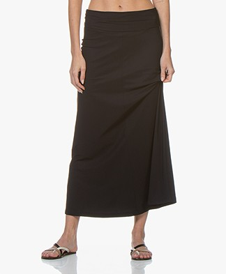 no man's land Travel Jersey Maxi Skirt - Blue Black