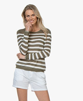 Plein Publique La Lina Striped Linen Sweater - Khaki/White