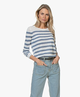 Plein Publique La Lina Striped Linen Sweater - White/Jeans