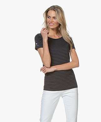 Plein Publique La Police Striped T-shirt - Marine/Black