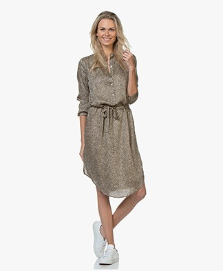 Plein Publique La Chemise Viscose Printed Shirt Dress - Panther