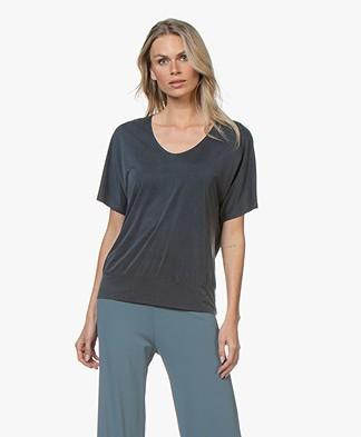 no man's land Cupro Jersey T-Shirt - Donkerblauw
