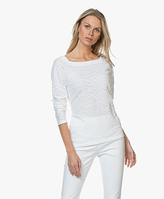 no man's land Structured Jacquard Long Sleeve - White