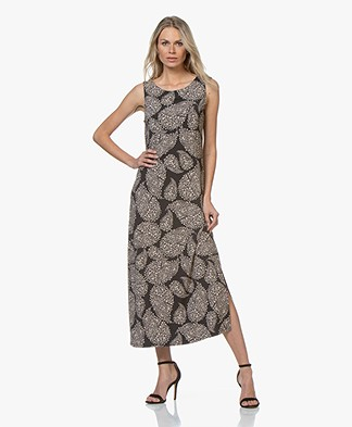 no man's land Jersey Maxi Dress with Print - Core Black