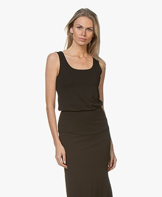 no man's land Viscose Jersey U-hals Top - Zwart