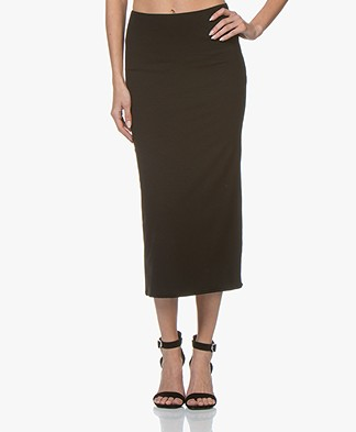 no man's land Jersey Midi Skirt - Core Black