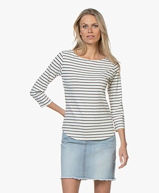 no man's land Viscose Cropped Sleeve T-shirt - Ivory/Dark Sapphire
