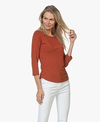 no man's land Viscose T-shirt met Driekwart Mouwen - Cinnamon