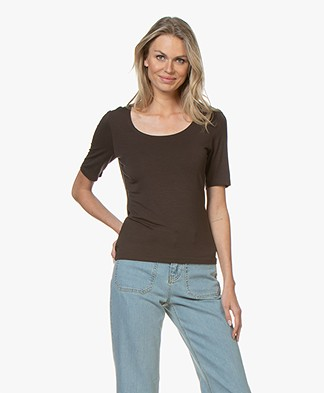 no man's land Viscose T-shirt met Halflange Mouwen - Dark Fondente