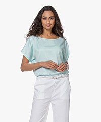 Drykorn Somia Cupro Blend Blouse - Blue Green