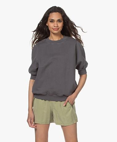 American Vintage Wititi Sweatshirt met Korte Mouwen - Vintage Carbon