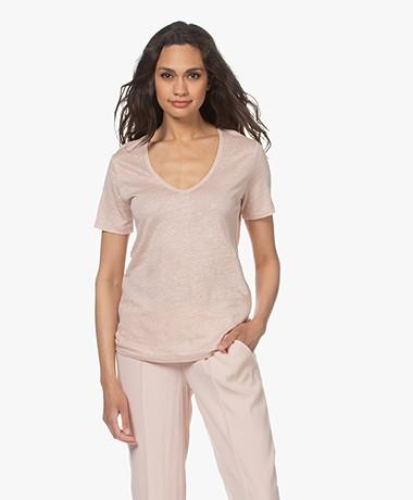 Closed Linen V-neck T-shirt - Rose Ash
