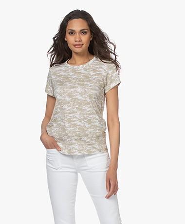 Rag & Bone All Over Camo Pima Katoenen T-shirt - Ivoor