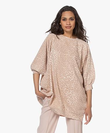 Ragdoll LA Super Oversized Print Sweatshirt - Blush Leopard