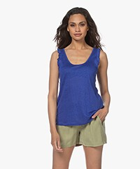 indi & cold Linen Top with Ruffles - Azul Klein