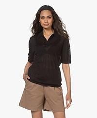 Filippa K Angeline Gebreid Linnen Polo T-shirt - Zwart