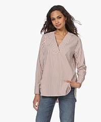 LaSalle Cotton Blend Striped Poplin Blouse - Safari