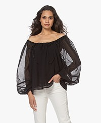 By Malene Birger Elodium Off-shoulder Pleated Blouse - Black