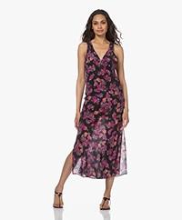 IRO Larley Silk Printed Midi Dress - Black/Pink