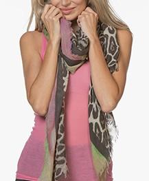 LaSalle Wool Blend Leopard Print Scarf - Green