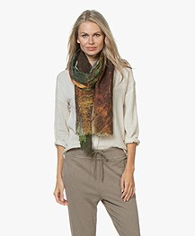 LaSalle Wool Printed Scarf - Forest