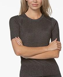 ba&sh Zoe Lurex Rib Pullover - Black