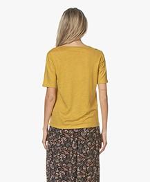 by-bar Loisa Linen T-shirt - Mustard