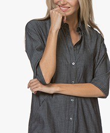 by-bar Bloeme Cropped Sleeve Midi Shirt Dress - Dark Denim