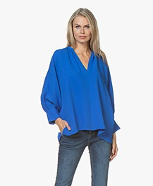 Joseph Alma Silk Puff Sleeve Blouse - Plastic Blue