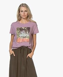 ba&sh Ted Printed Slub Jersey T-shirt - Mauve