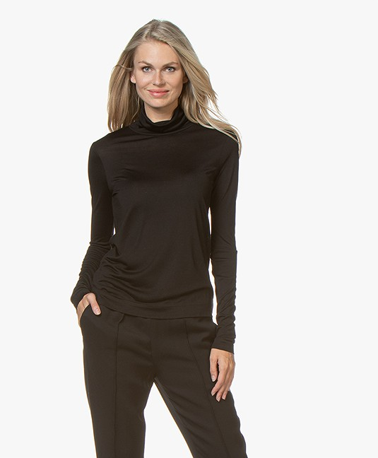 Joseph Pure Silk Turtleneck T-shirt - Black