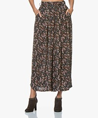 by-bar Wanda Cropped Bloemenprint Broek - Vintage Green