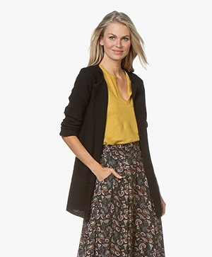 Sibin/Linnebjerg Mary Short Cardigan in Merino Blend - Black