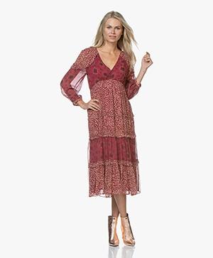 ba&sh Gypsie Printed Chiffon Midi Dress - Pink Rose