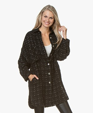 IRO Mainte Wool Blend Coat with Checkers - Black