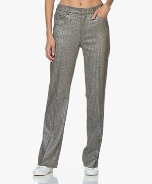 Zadig & Voltaire Pistol Silver Pants with Rhinestones - Silver Grey