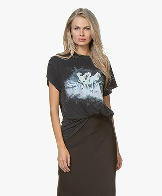 IRO Like Oversized T-shirt met Print - Used Black