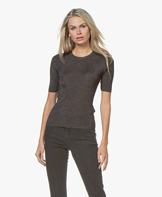 ba&sh Zoe Lurex Rib Pullover - Black