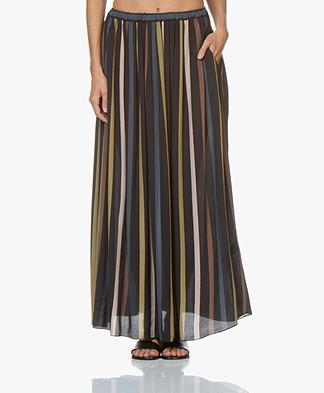 by-bar Linde Striped Crepe Maxi Skirt - Midnight