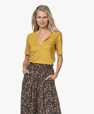 by-bar Loisa Linen T-shirt - Mustard