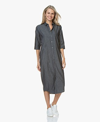 by-bar Bloeme Cropped Sleeve Midi Shirt Dress - Dark Denim