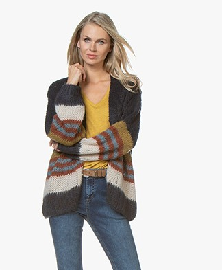 by-bar Feliz Mohair Blend Striped Cardigan - Midnight