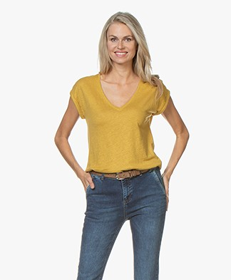 by-bar Mila Linen Jersey T-shirt - Mustard