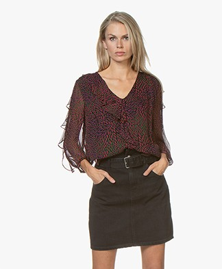 ba&sh Genny Printed Chiffon Blouse - Purple